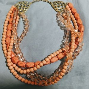 Gorgeous Coral Stone Bead Necklace w/ 5 strands.